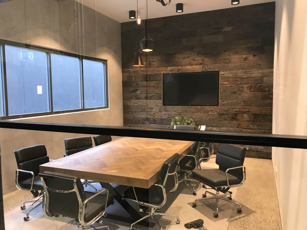 Recycled timber cladding in boardroom by Simply Wood