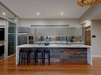 Recycled timber on kitchen island by Simply Wood